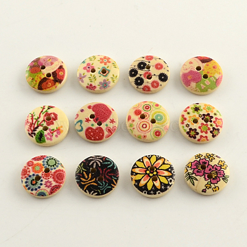 2-Hole Flower Pattern Printed Wooden Buttons, Flat Round, Mixed Color, 15x4mm, Hole: 2mm(X-BUTT-R031-057)