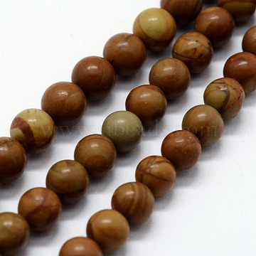 Natural Wood Lace Stone Beads Strands, Round, 10mm, Hole: 1mm; about 37pcs/strand,  14.76 inches(37.5cm)(G-I199-17-10mm)