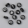 Opaque Acrylic Beads, with Enamel, Flat Round with Initial Letter, White, Black, 9.5x4.5mm, Hole: 2mm