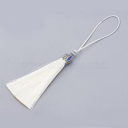 Groses décorations de pendentif pompon en nylon, avec les accessoires émaillés et en alliage, platine, floral blanc, 80~84x10.5~11mm(AJEW-N024-29)