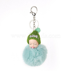 Pom Pom Ball Keychain, with Alloy Lobster Claw Clasps, Iron Key Ring and Chain, Wool Woven, Baby, Platinum, Turquoise, 170~180mm(X-KEYC-F020-L03)