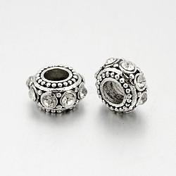 Plaqué argent antique perles de strass en alliage, perles de rondelle avec grand trou , cristal, 11x6.5mm, Trou: 5mm(RB-J503-01AS)