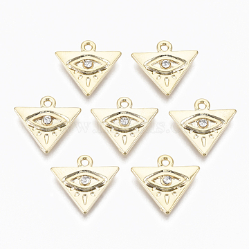 Alloy Pendants, with Crystal Rhinestone, Cadmium Free & Nickel Free & Lead Free, Triangle with Eye, Real 18K Gold Plated, 14x15x2.5mm, Hole: 1.5mm(X-PALLOY-S135-012-NR)