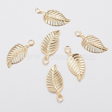 304 Stainless Steel Charms, Leaf, Golden, 14.5x6x0.5mm, Hole: 1.2mm(STAS-G179-83G)