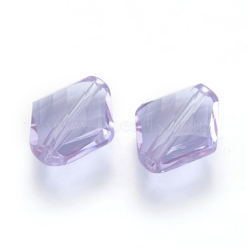 14mm Lilac Rhombus Glass Beads