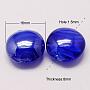 16mm MediumBlue Flat Round Lampwork Beads(LAMP-S010-16mm-01)