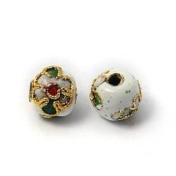perles en cloisonné main, ronde en filigrane, blanc, 8 mm, trou: 1 mm(CLB8mmC01)