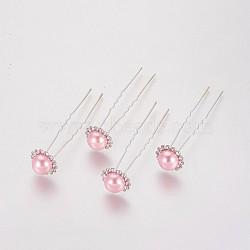 (vente de clôture défectueuse), fourches de cheveux de dame, avec des résultats de fer de couleur argent, perle d'imitation acrylique et strass, fleur, cristal, pearlpink, 75 mm(PHAR-XCP0001-I01)