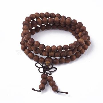 3-Loop Wrap Style Buddhist Jewelry, Sandalwood Mala Bead Bracelets, Stretch Bracelets, Round, SaddleBrown, 2-1/2inches(6.5cm)(BJEW-S140-13A)