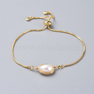 Brass Slider Bracelets, Bolo Bracelets, with Natural Baroque Pearl Keshi Pearl Beads and Box Chains, Golden, Single Chain Length: about 4-3/4 inches(12cm)(BJEW-JB04767)