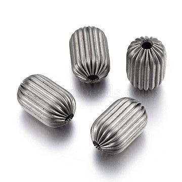 304 Stainless Steel Corrugated Beads, Column, Stainless Steel Color, 9x5.5~6mm, Hole: 1.5mm(STAS-P218-25-6mm)