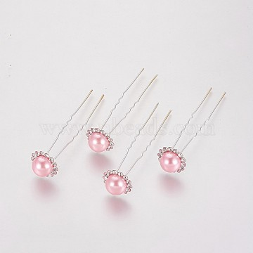 (Defective Closeout Sale), Lady's Hair Forks, with Silver Color Plated Iron Findings, Acrylic Imitation Pearl and Rhinestone, Flower, Crystal, PearlPink, 75mm(PHAR-XCP0001-I01)