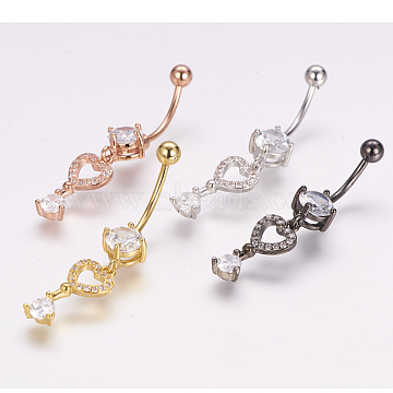 Piercing Jewelry, Brass Micro Pave Cubic Zirconia Belly Rings, with 304 Stainless Steel Pins, Heart Shape Key, Mixed Color, 40mm, Pin: 1.5mm(ZIRC-J017-17)