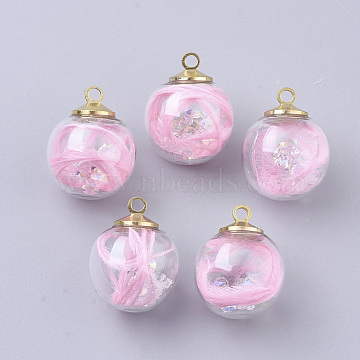 Transparent Glass Globe Pendants, with Feather, Resin Rhinestone and Brass Findings, Round, Light Gold, Pink, 19.5~20x15.5~16mm, Hole: 2mm(X-GLAA-T001-07B)