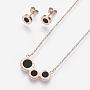 Black Stainless Steel Stud Earrings & Necklaces(SJEW-O088-04RG)