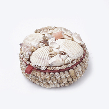 Handmade Spiral Shell Boxes with Cardboard inside, Flat Round, Navajo White, 9.4x4.5cm(OBOX-Q015-01)