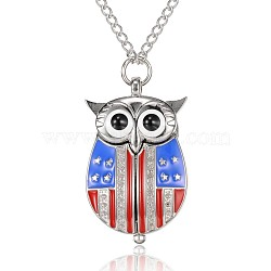 Owl Alloy Quartz Pocket Watches, with Iron Chains and Lobster Claw Clasps, Platinum, 32.2 inches; Watch Head: 43x26x12mm; Watch Face: 18mm(WACH-N039-17P)