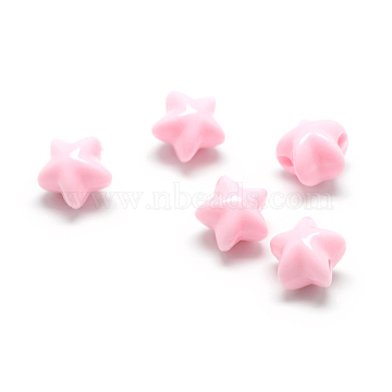 Opaque Acrylic Beads, Star, Pink, 11x11.5x10mm, Hole: 2.5mm(X-MACR-S830-04H)