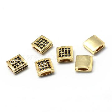 9mm Square Brass+Cubic Zirconia Beads