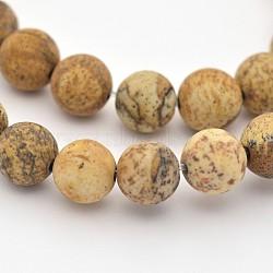 """Chapelets de perles en jaspe avec images naturelles, mat, rond, 10mm, trou: 1mm; environ 38 pcs/chapelet, 15.3""""(G-G735-16F-10mm)"""
