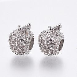 Perles européennes en laiton avec zircone cubique de micro pave, Perles avec un grand trou   , pomme, clair, platine, 15x10x11mm, Trou: 5.5mm(OPDL-P001-54)