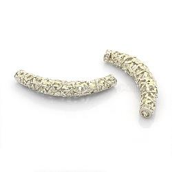 Platine ton alliage strass émail billes creuses, tube courbé avec des motifs de fleurs, beige, 61x10mm, Trou: 5mm(ENAM-J382-01P)