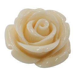 Perles de corail synthétiques, fleur, agréable pour les bijoux DIY faisant, teint, blanc, environ 11 mm de large, Longueur 11mm, épaisseur de 8mm, Trou: 0.5mm(X-DC77-5)