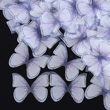 Organza Fabric, For DIY Jewelry Making Crafts, Butterfly, Lilac, 36x42mm(X-FIND-S317-08)