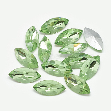 Pointed Back Glass Rhinestone Cabochons, Back Plated, Faceted, Horse Eye, Peridot, 6x3x2mm(RGLA-T083-3x6mm-19)