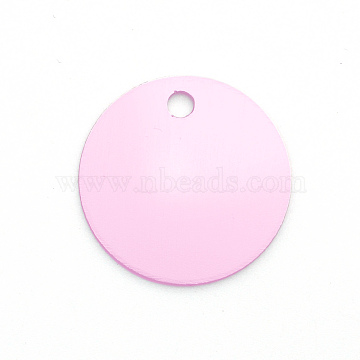 Colored Aluminum Pendants, Laser Cut, Double Sided Dog Pet Name Phone Number ID Tag Charm, Flat Round, Pearl Pink, 30x1mm, Hole: 3.5mm(ALUM-S018-JA633-3)