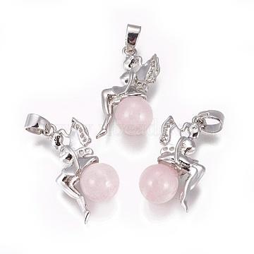 Platinum Angel & Fairy Rose Quartz Pendants