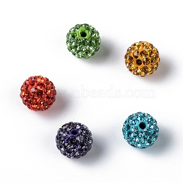 Pave Disco Ball Beads, Polymer Clay Rhinestone Beads, Grade A, Mixed Color, PP13(1.9~2mm), 10mm, Hole: 1mm(X-RB-Q195-10mm-M)
