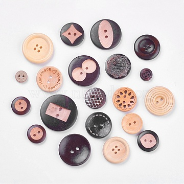 Wooden Buttons, Flat Round, Mixed Color, 11~35x3.5~5.5mm, Hole: 1~3mm(BUTT-MSMC001-06)