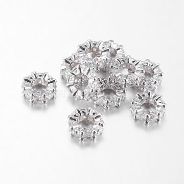 Brass Cubic Zirconia European Beads, Rondelle, Platinum, 9x3mm, Hole: 4mm(X-ZIRC-F001-101P)