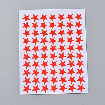 Self Adhesive Labels Picture Stickers, Star, Red, 125x95mm; star: 10x10mm; about 70pcs/sheet, 10sheets/bag(AJEW-WH0079-A02-04)