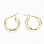 Brass Hoop Earrings, with 925 Sterling Silver Pins, Nickel Free, Ring, Real 18K Gold Plated, 15x2mm, Pin: 0.7mm
