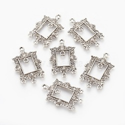 Composants de liens de lustre en alliage, avec strass, rectangle, argent antique, 32.5~33x21x2.5mm, Trou: 1.5~1.8mm(ALRI-G065-01AS)