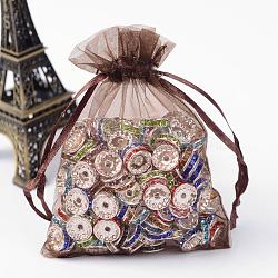 Sacs en organza, avec des rubans, chocolat, 12x9 cm(X-OP-R016-9x12cm-12)