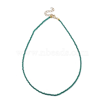 Faceted Rondelle Glass Beaded Necklaces, with Golden Plated Brass Spring Ring Clasps, Teal, 14.37 inches(36.5cm)(NJEW-JN03004-05)