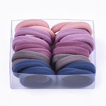 Girls Hair Accessories, Ponytail Holder, Elastic Hair Ties, Mixed Color, 38~40x11~12mm; 12pcs/box; box: 12.7x9.8x4.5cm(OHAR-S199-07F-B)