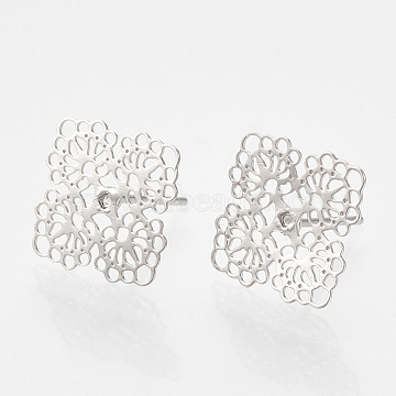Brass Stud Earrings, Square, Real Platinum Plated, 12x12mm; pin: 0.7mm(X-KK-S345-276P)