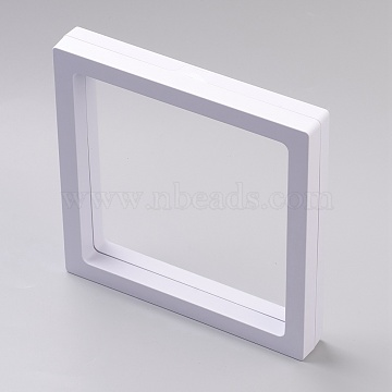 Square Transparent 3D Floating Frame Display, for Ring Necklace Bracelet Earring, Coin Display Stands, Aa Medallions, White, 13.9x13.9x2cm, (OBOX-G013-14B)