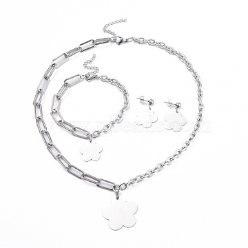 304 Stainless Steel Paperclip Chains & Cable Chain Jewelry Sets, Dangle Earrings & Pendant Necklaces & Charm Bracelets, Flower, Stainless Steel Color, 18-3/4 inches(47.7cm); 8 inches(20.3cm); 29mm, Pin: 0.6mm(SJEW-K153-08P)