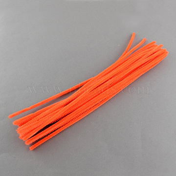 11.8 inches Christmas Tinsel Decoration DIY Chenille Stem Tinsel Garland Craft Wire, Tomato, 300x5mm(AJEW-S007-18)