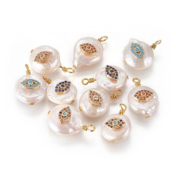 Natural Cultured Freshwater Pearl Pendants, with Cubic Zirconia and Brass Findings, Flat Round with Eyes, Golden, Mixed Color, 12~17x12~16mm, Hole: 1.8mm(PEAR-I005-03)