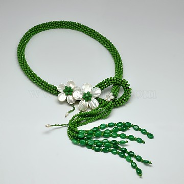 Flower Glass Beaded Lariat Necklaces, with Pearl and Shell, Green, 31.4inches(NJEW-P102-37B)