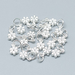 925 Sterling Silver Charms, with Jump Ring, Flower, Silver, 8x5x3mm, Hole: 4mm(STER-T002-104S)