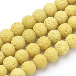 """Chapelets de perles de lave naturelle, teint, rond, jaune de champagne, 8~8.5mm, trou: 1mm; environ 47 pcs/chapelet, 14.96"""" (38 cm)(G-S277-8mm-18)"""