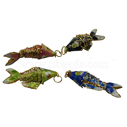 Cloisonne Pendants, Fish, Mixed Color, about 14mm wide, 35mm long, 8mm thick, hole: 6mm(CLB003)