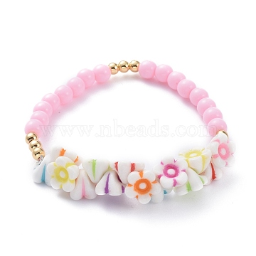 Kids Stretch Bracelets, with Acrylic Beads and Golden Plated Brass Beads, Flower, Colorful, Inner Diameter: 2-1/4 inches(5.7cm)(X-BJEW-JB05619)